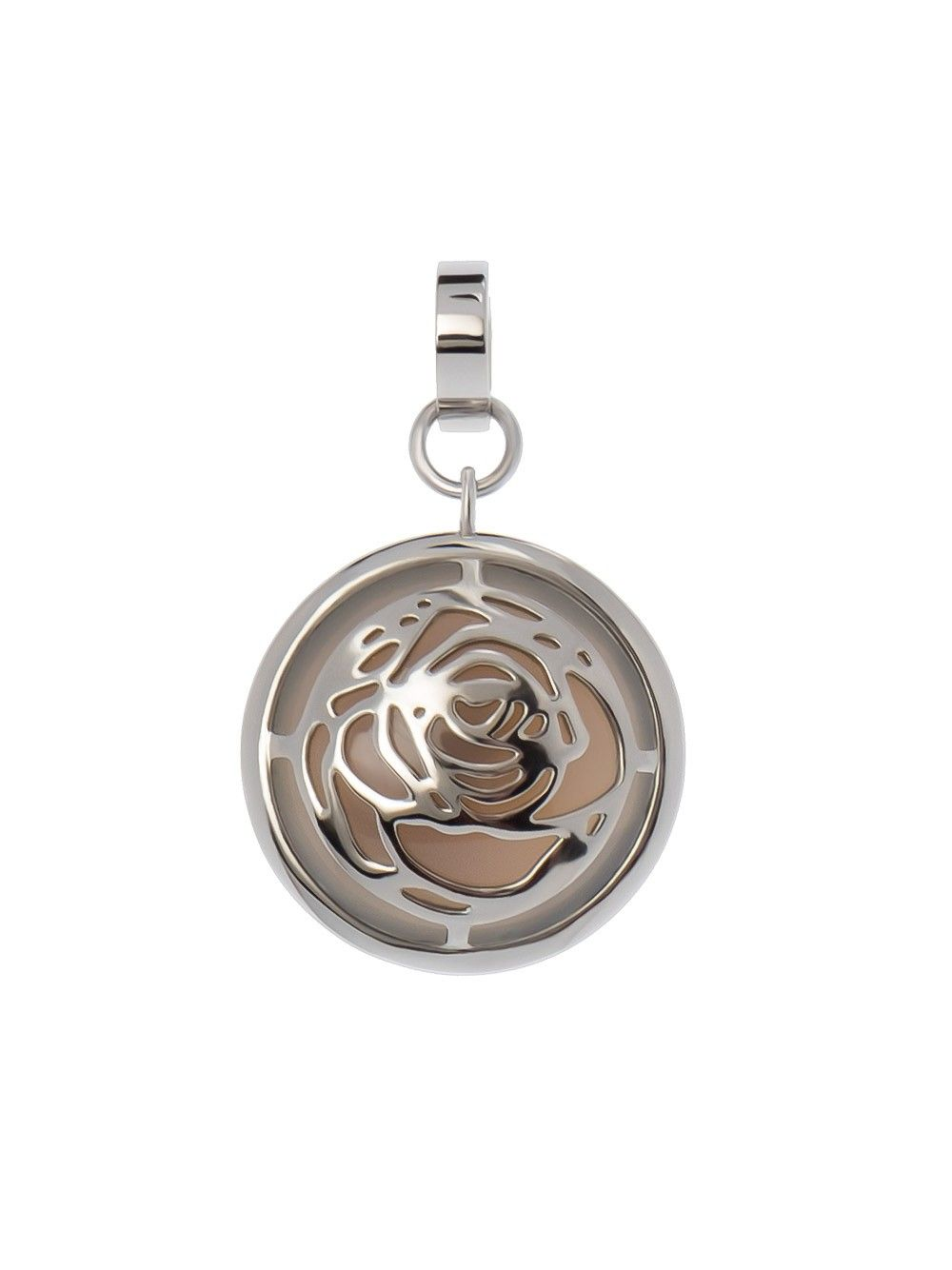 """Two face pendant """"Scent"""" by Sofia Bobone featuring shining stainless steel, grey agate shimmering through a rose motif or only a light cabochon grey agate."""