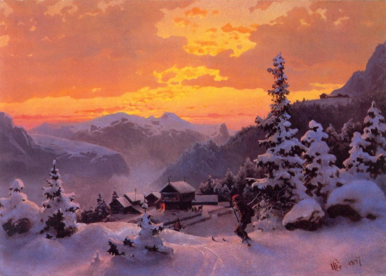 Hans Gude Norwegian 1825 1903 Norwegian Romantic Nationalism Winter Afternoon 1847 National Gallery Of No Landscape Paintings Landscape Landscape Artist
