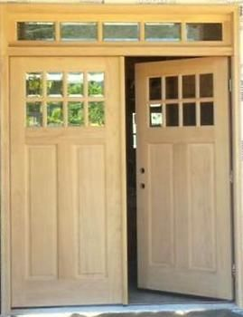 8 Lite Craftsman Style Double Entry Doors with 5 Lite Transom