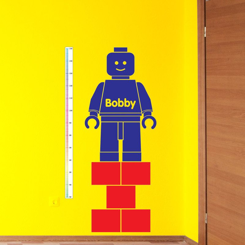 Lego Man Inspired Height Chart Growth Chart Wall Sticker - Lego wall decals vinyl