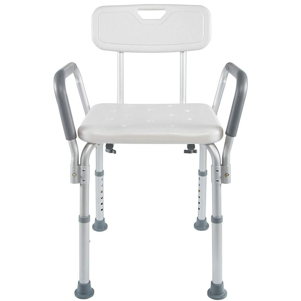 Shower chair for elderly with back and arms heavy duty bench adjustable height unbranded