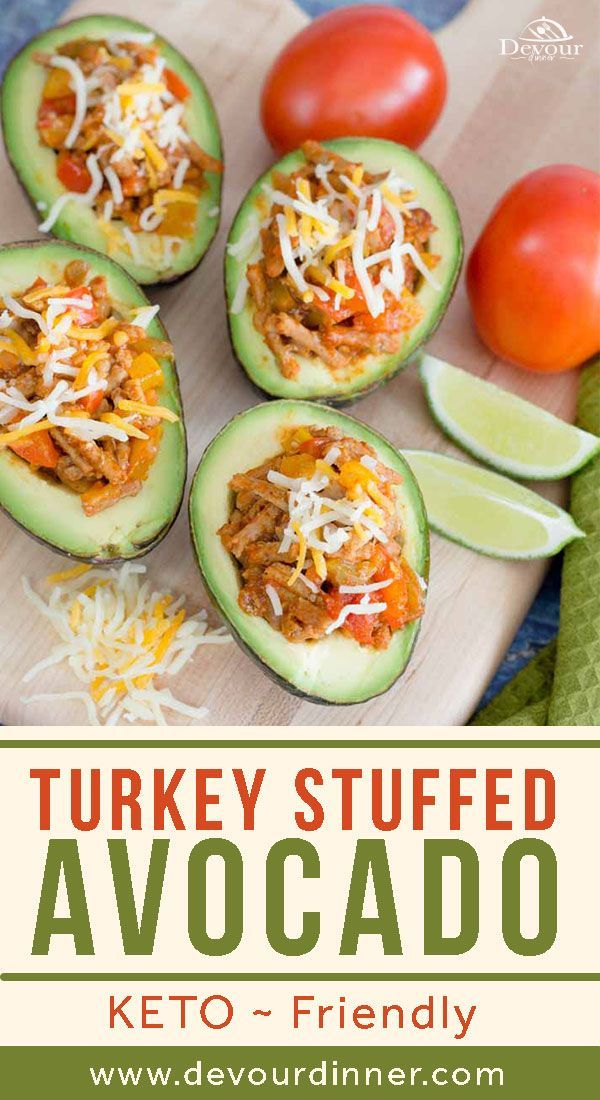 Stuffed avocados are a great way to eat a low carb and high nutrient dish. With creamy green avocados balancing out the nice fiesta flavors, these taco stuffed avocados are sure to be a hit. #devourdinner #dinnerrecipe #easyrecipe #groundturkey #groundturkeyrecipe #instantpot #instantpotrecipe #familyfavorite #kidapproved #yum #yummy #recipe #recipes #food #foodies #instantgood #buzzfeed