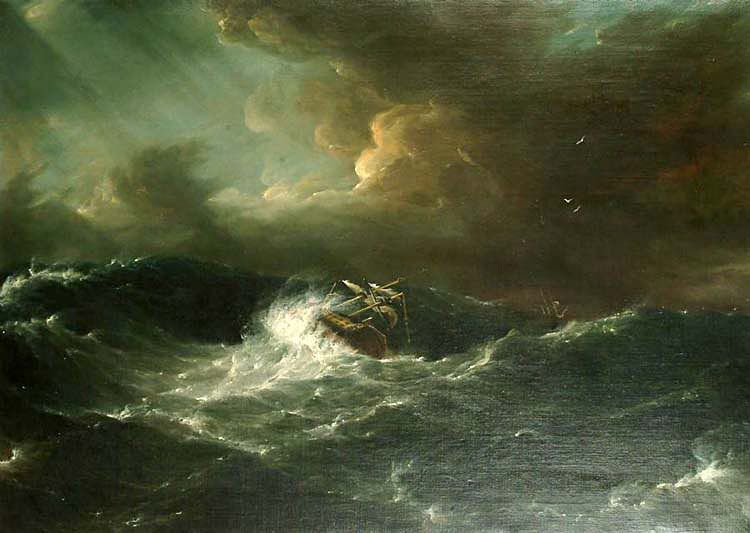 art oil painting sailboat capsized on the sea shipwreck