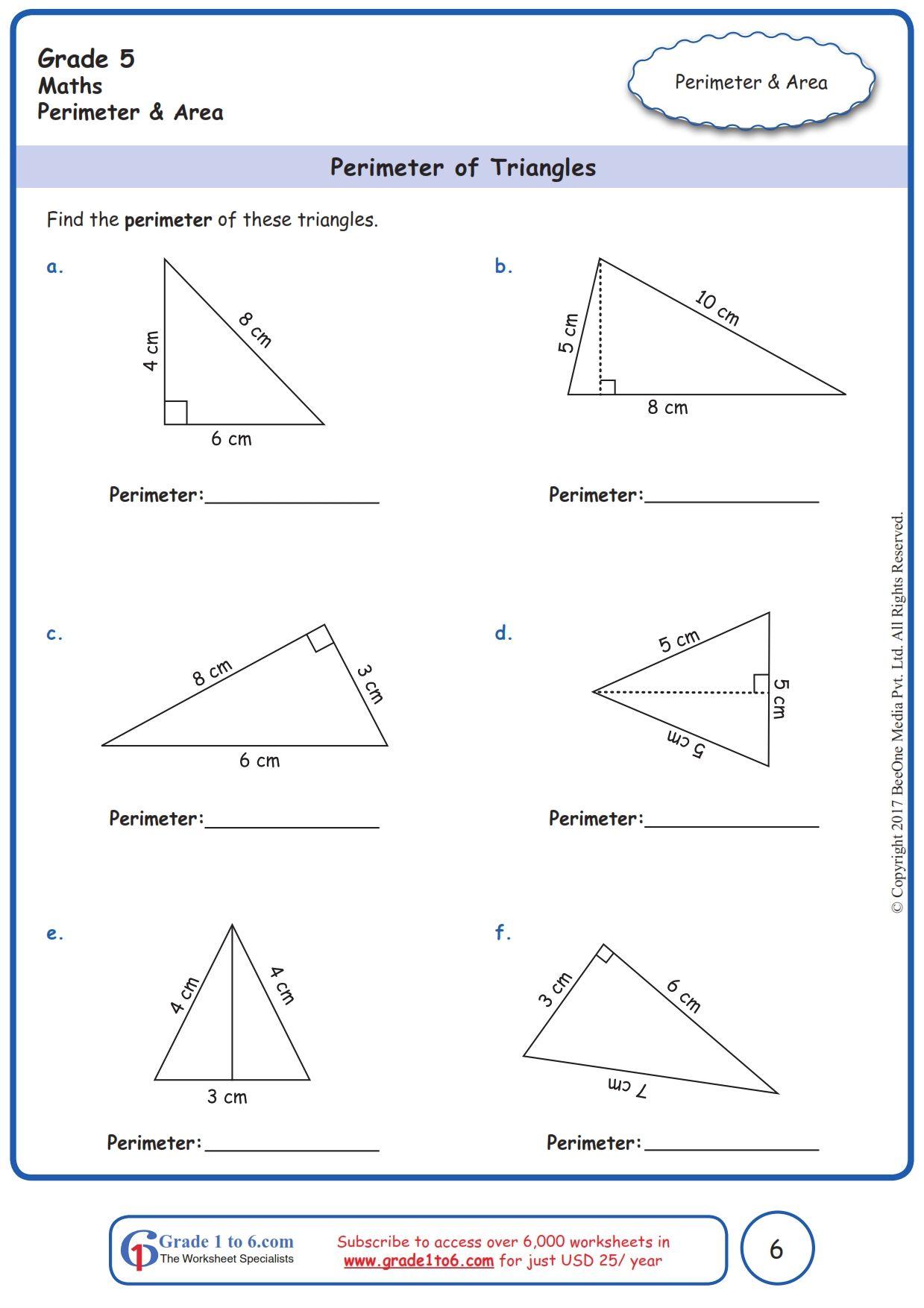 Worksheet Grade 5 Math Perimeter of Triangles   Perimeter worksheets [ 1754 x 1239 Pixel ]