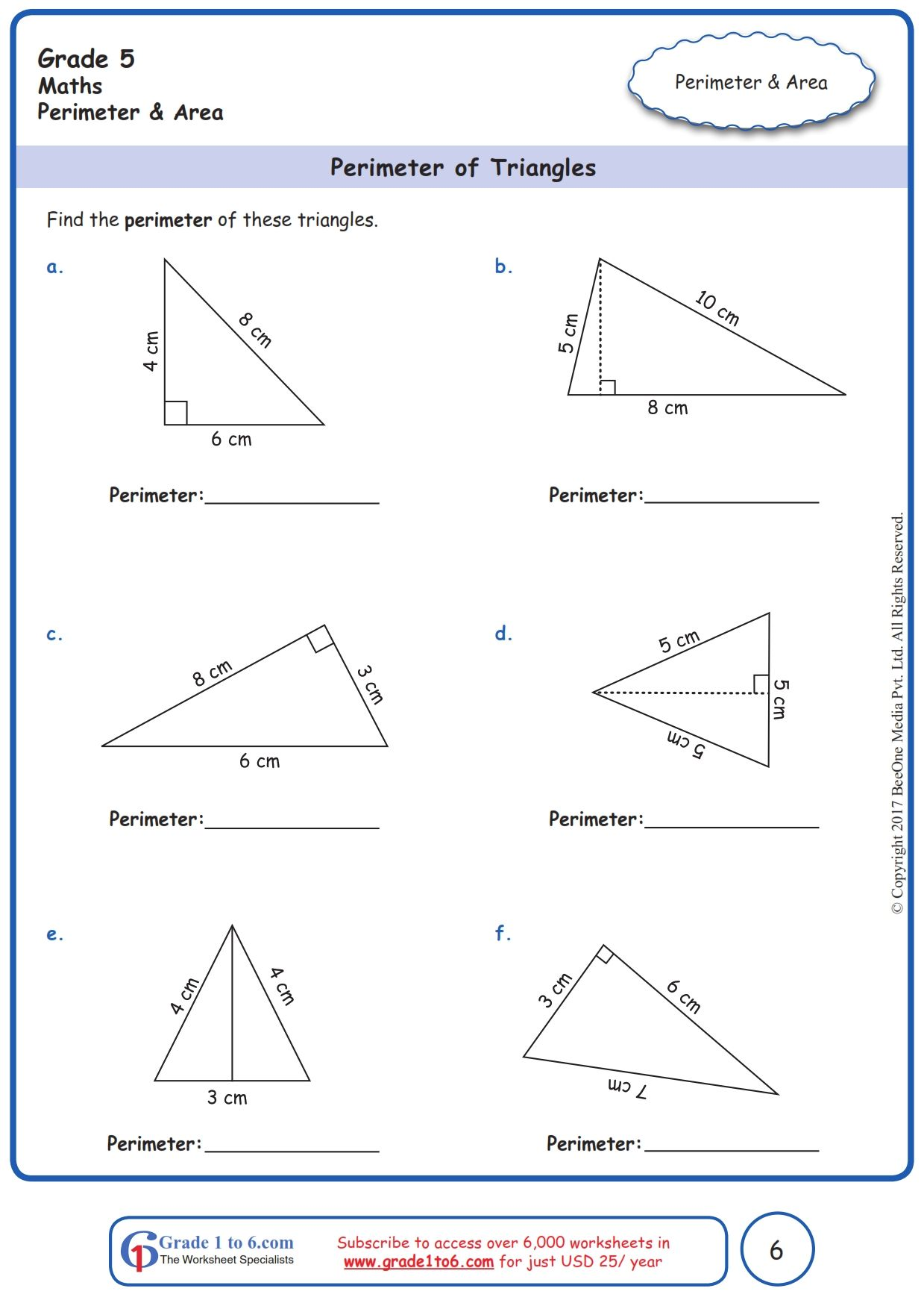 hight resolution of Worksheet Grade 5 Math Perimeter of Triangles   Perimeter worksheets