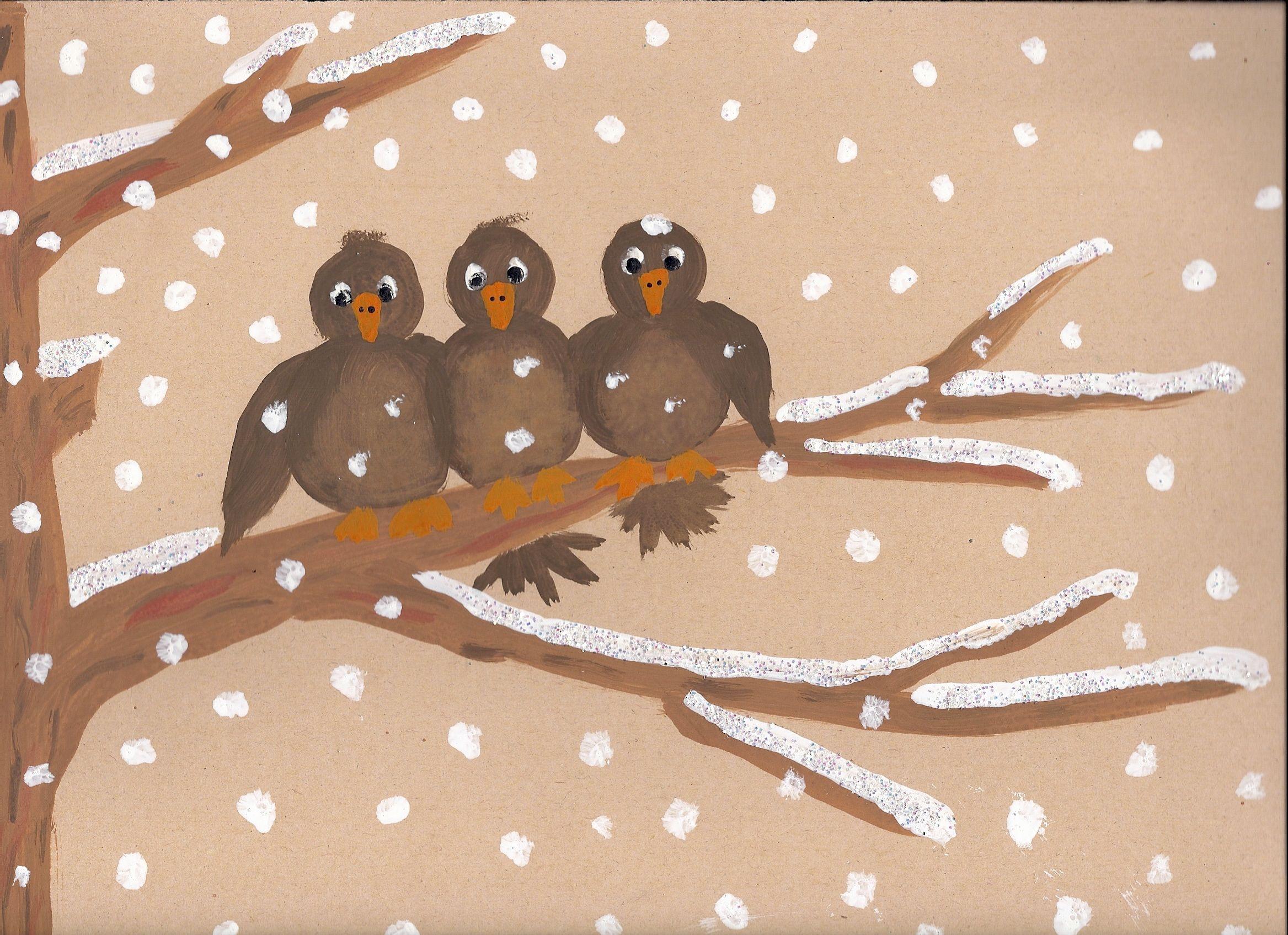 Drei Spatzen | Basteln mit Kindern | Winter art, Autumn ...