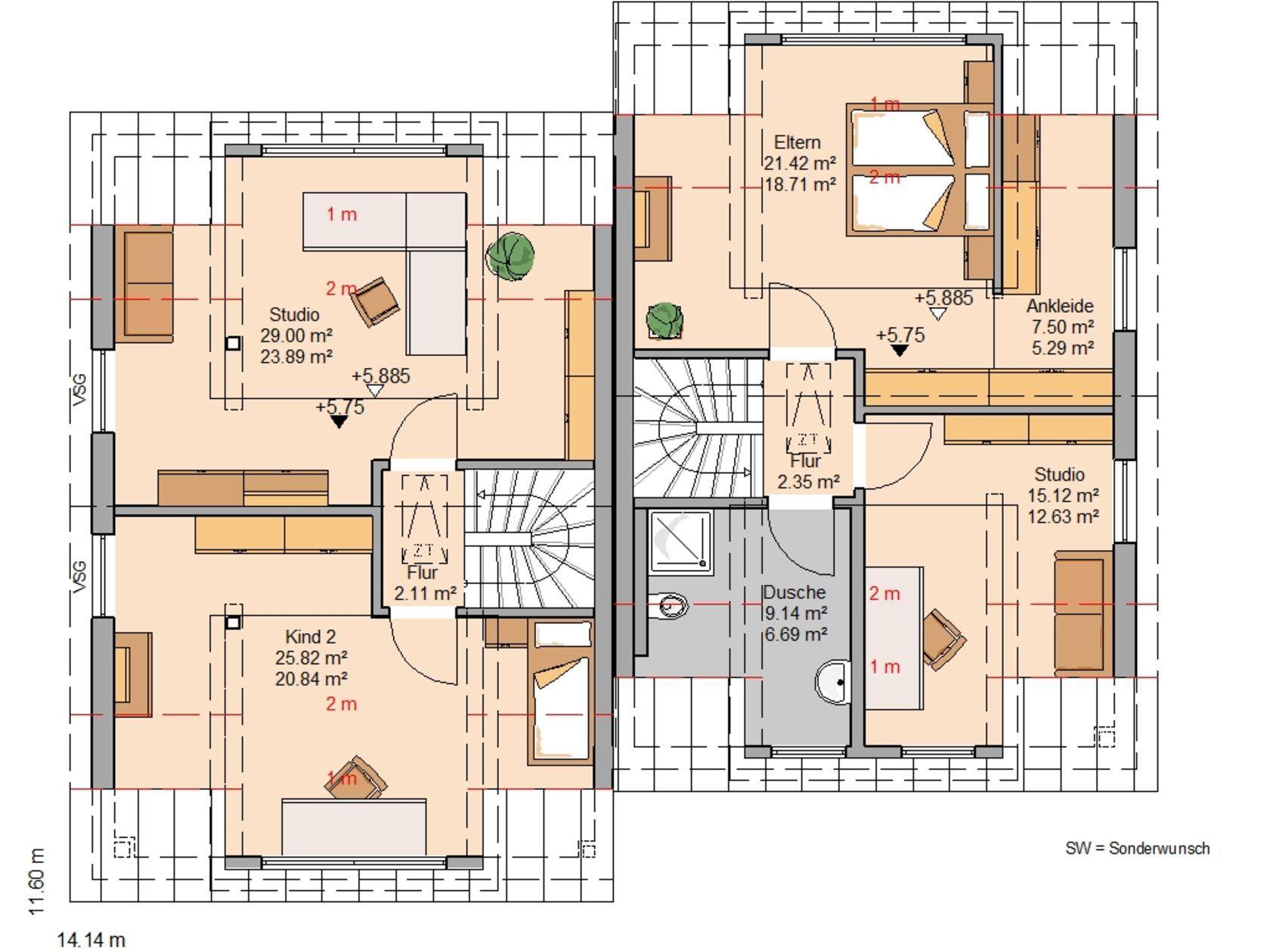 Moderne doppelhäuser grundrisse  Kern-Haus Doppelhaushälfte Twin XXL Grundriss Dachgeschoss ...