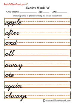Cursive Words alphabets A a | teaching big kids | Pinterest ...
