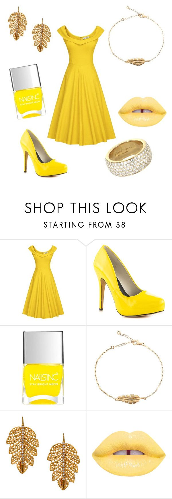 """Yellow #2"" by worldstar ❤ liked on Polyvore featuring Michael Antonio, Nails Inc., Marika, Lime Crime and Cartier"