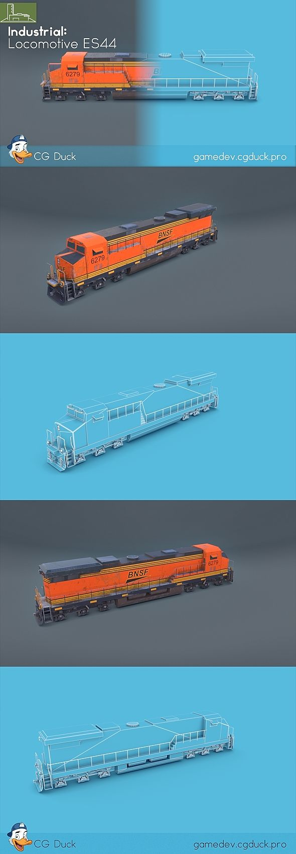 Locomotive ES44 by CGDuck Low poly game-ready 3d model of a