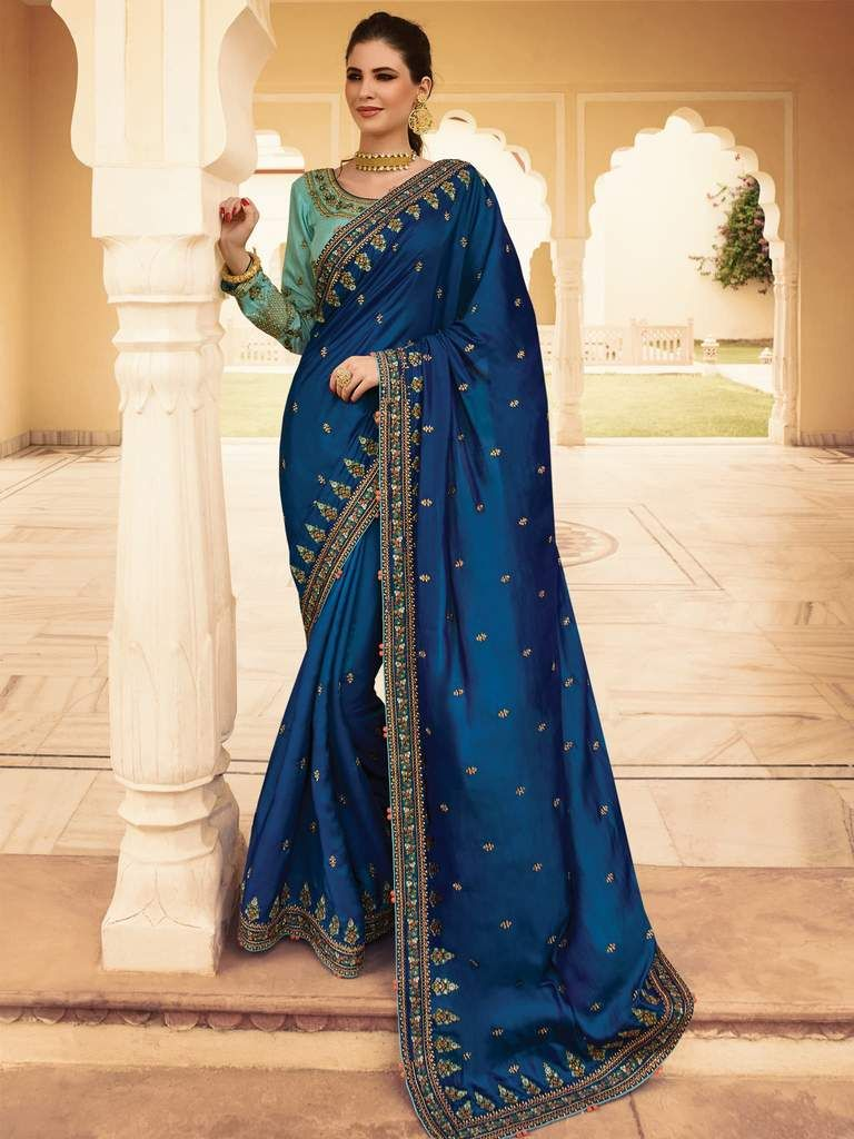50a588b8355e59 (ORIGINAL CATALOG SAREE ) Heavy Zari, Resham Embroidery With Stone Work And  Lace Border Saree Product Code: 4405 Set Description: 1 set = total 2  Pieces; ...