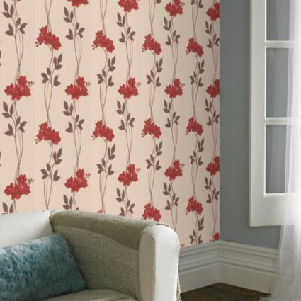 Super fresco paste the wall serene cream red wallpaper departments diy at bq