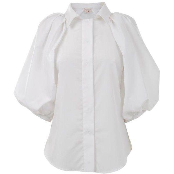 GIAMBATTISTA VALLI Cotton poplin oversized puff sleeve shirt ($260) ❤ liked on Polyvore