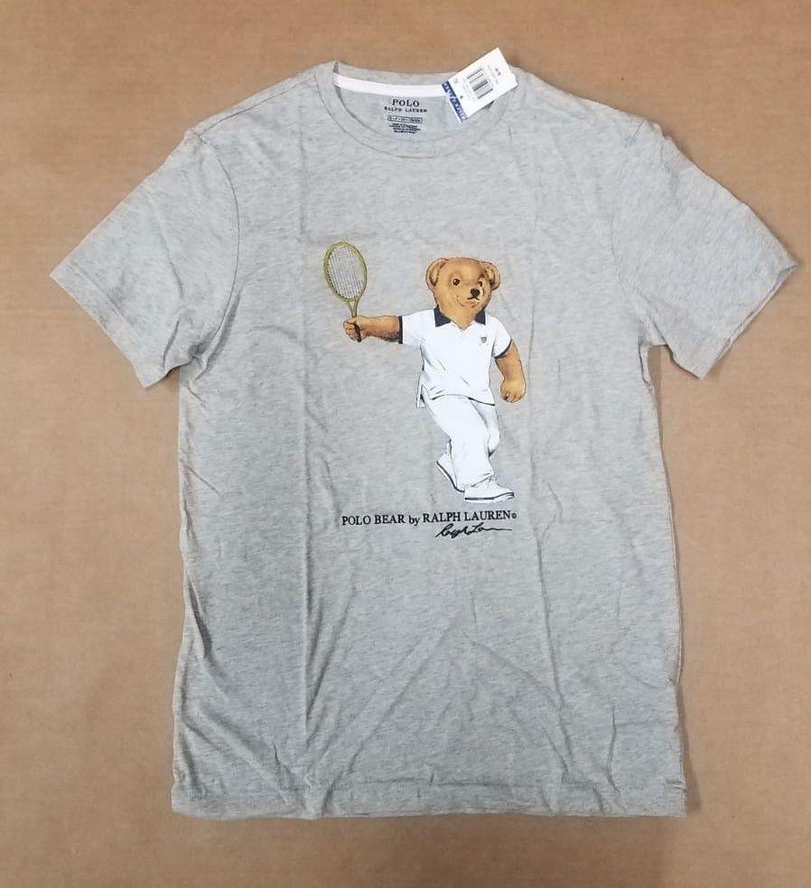 Small Heather Lauren Tennis Size Shirt Gray Men's Ralph Polo T Bear JlFKc5u1T3