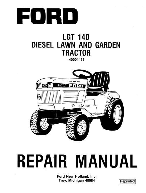 Ford Lgt14d Lgt16d Lawn Tractor Service Manual New Holland Ford New Holland Ford News
