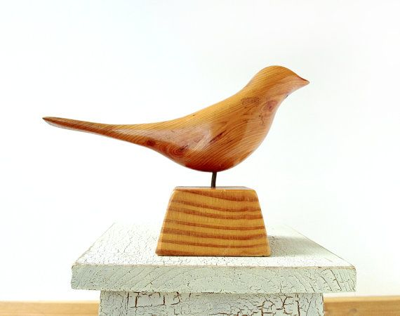 Wooden Bird Sculpture Signed By J Wolber Carved In 1978 In A