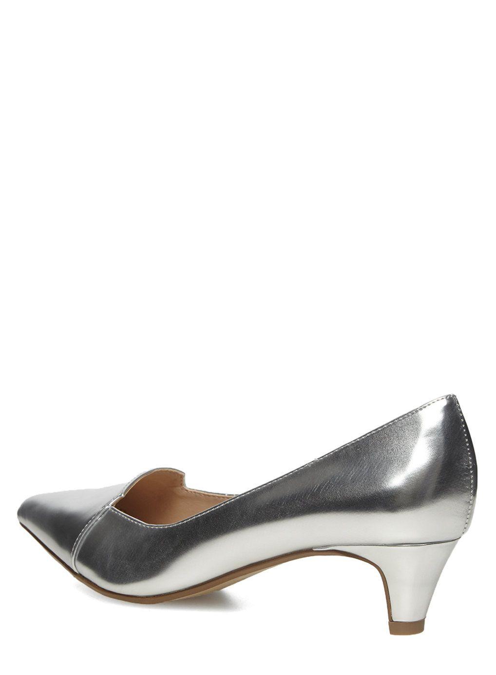 bdfd5232549 Silver kitten heel court Shoes