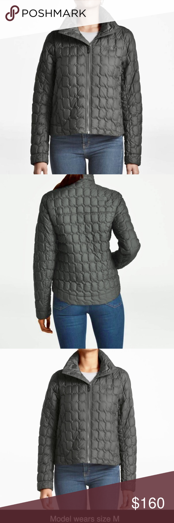 e056a6575 The North Face ThermoBall Crop Jacket Asphalt Grey The North Face ...