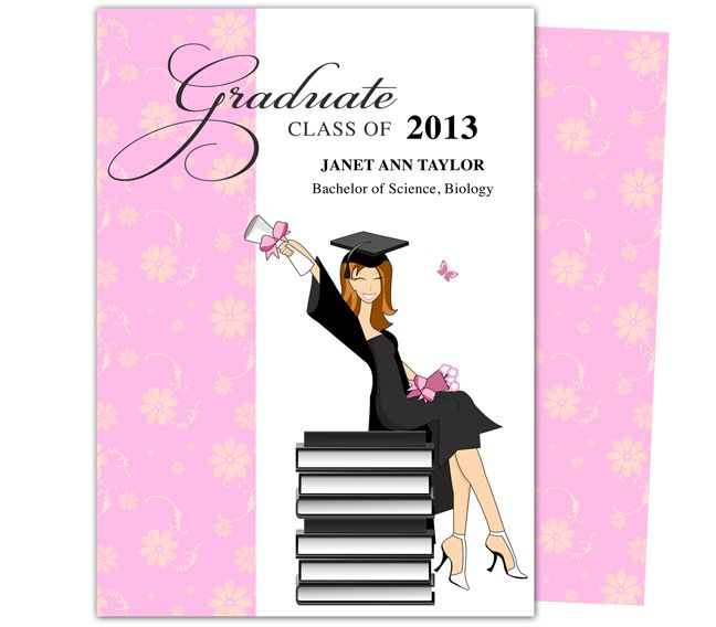 Printable Diy Grad Announcements : Feminine Wealth Design