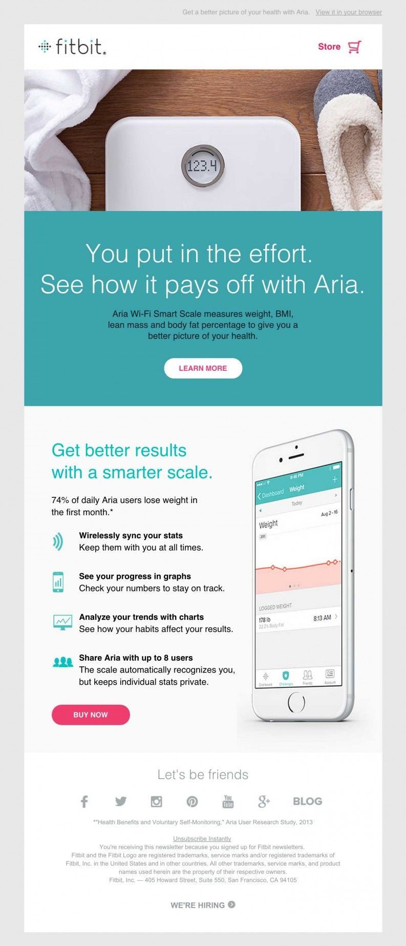 Fitbit Aria Smart Scale Clean Email Design Social Media - Web design email marketing templates