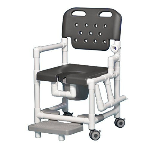 Discounted Elite Shower Chair Commode With Footrest And Left Drop Arm Elt817 P Frlda Gray Eliteshowerchaircommodewithf In 2021 Pvc Shower Shower Chair Commode Chair