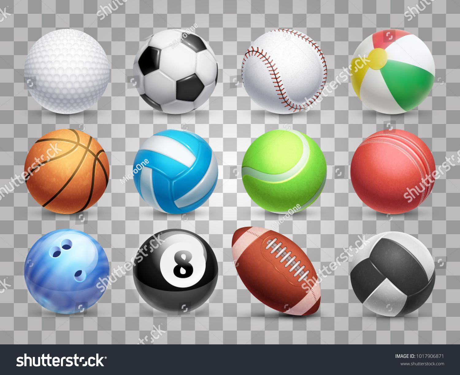 Realistic Sports Balls Vector Big Set Isolated On Transparent Background Illustration Of Soccer And Sports Balls Birthday Party Crafts Transparent Background
