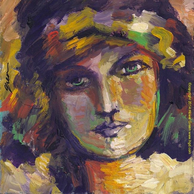 Flapper girl impressionist pop art painting by Howie Green