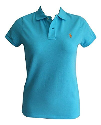 Ralph Lauren Ladies Polo Shirt Skinny Fit Short Sleeve (S, Blue (Orange  Logo)) Superb womens solid mesh Polo by Ralph Lauren in a Skinny Fit.
