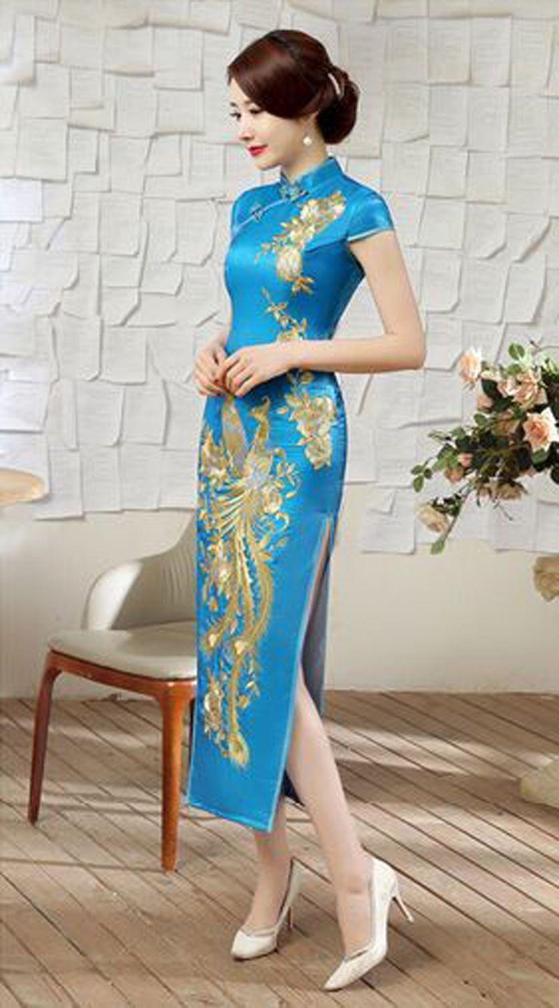 Chinese womenus silk evnening dress cheongsam wedding dress blue sz