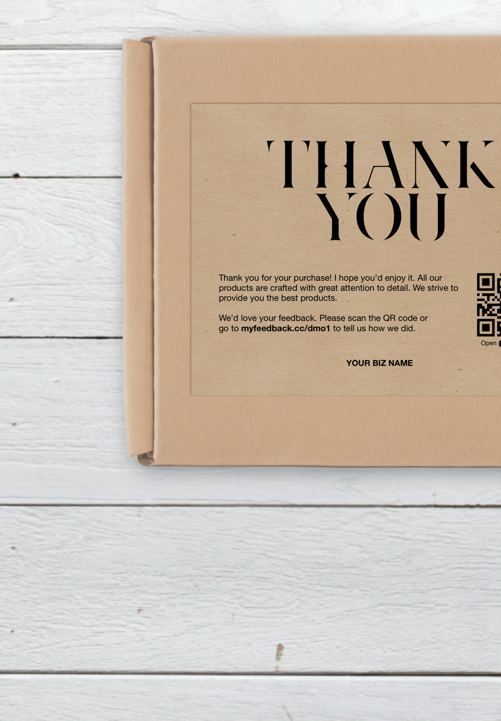 Business Thank You Card Thank You For Your Purchase Packaging