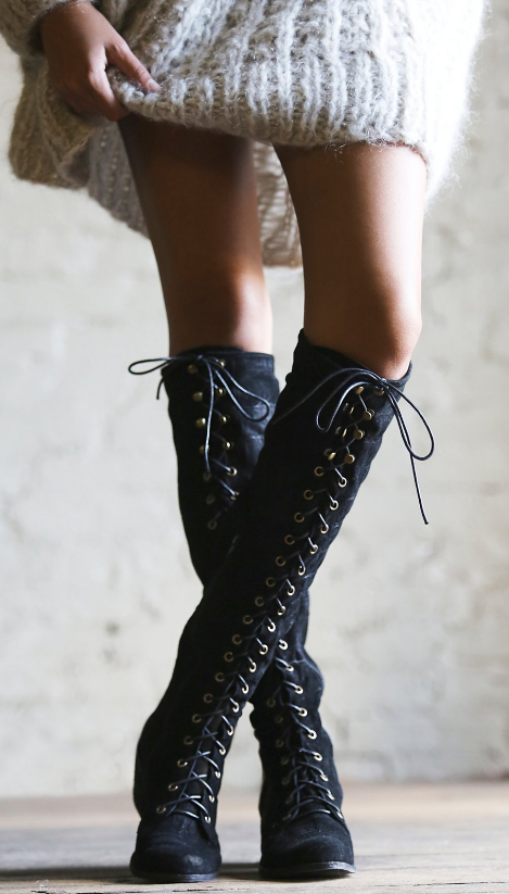 966133ce441a Jeffrey Campbell Joe Lace Up Boots via Free People Clothing & Boutique \\  boots, lace up, riding boots, cute boots, otk boots, over the knee, style,  ...