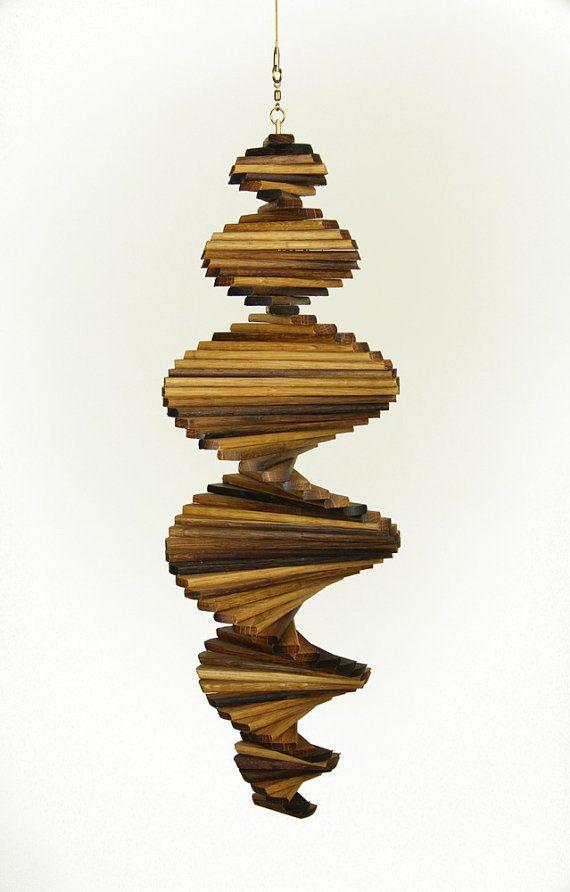 Oak Barrel Wind Spinner Helix by ArtisanWindSpinners on Etsy, $59.95