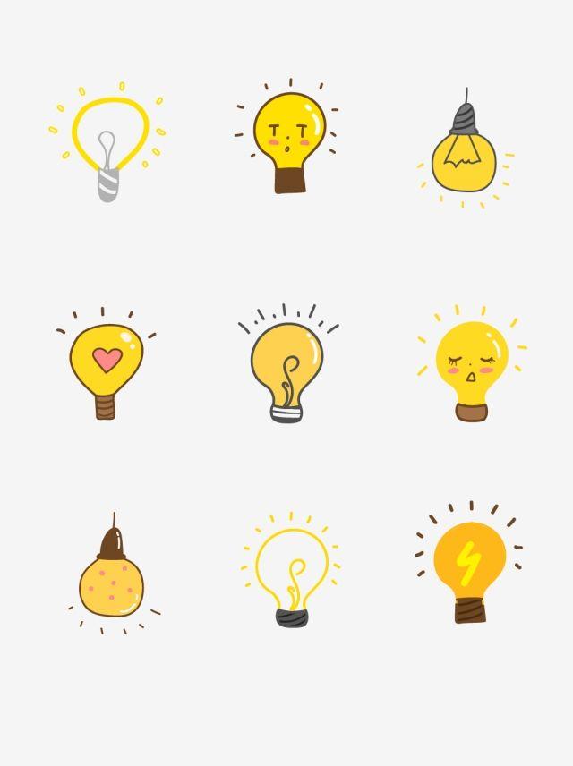 Cartoon Hand Drawn Cute Yellow Light Bulb Element Painted Yellow Light Bulb Inspiration Vector And Png ลายเส นด เด ล สต กเกอร ร ปลอก