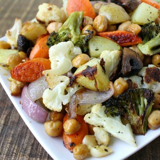 One-Pan Roasted Vegetables and Chickpeas.