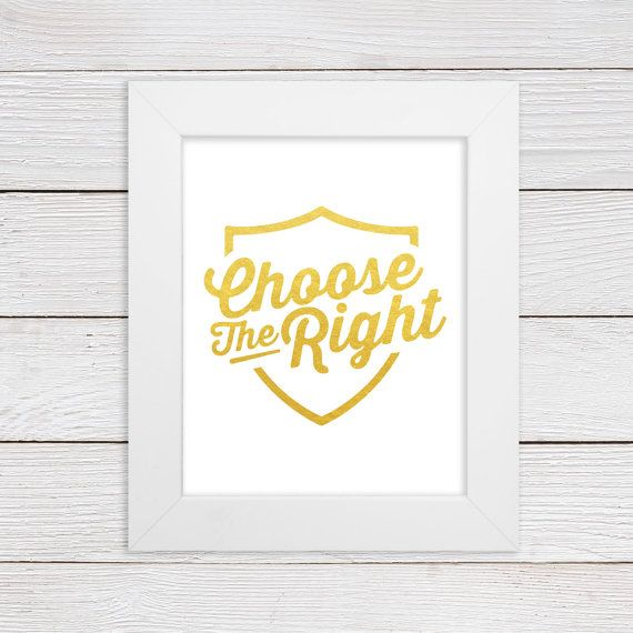 CTR, Choose The Right Wall Art Print, Faux Gold Foil or Faux Silver ...