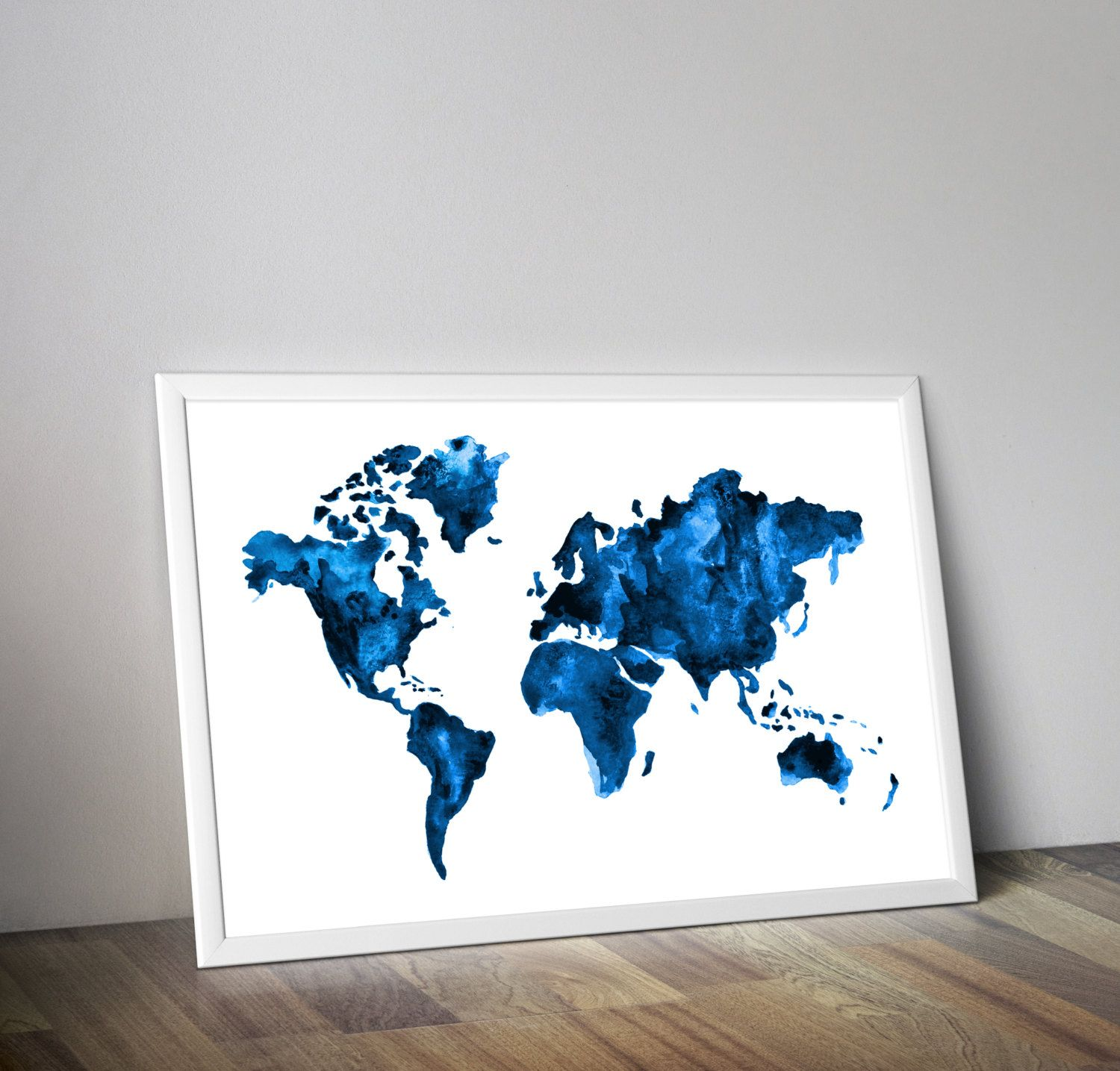 Blue map travel art watercolor world map watercolor painting by blue map travel art watercolor world map watercolor painting gumiabroncs Choice Image
