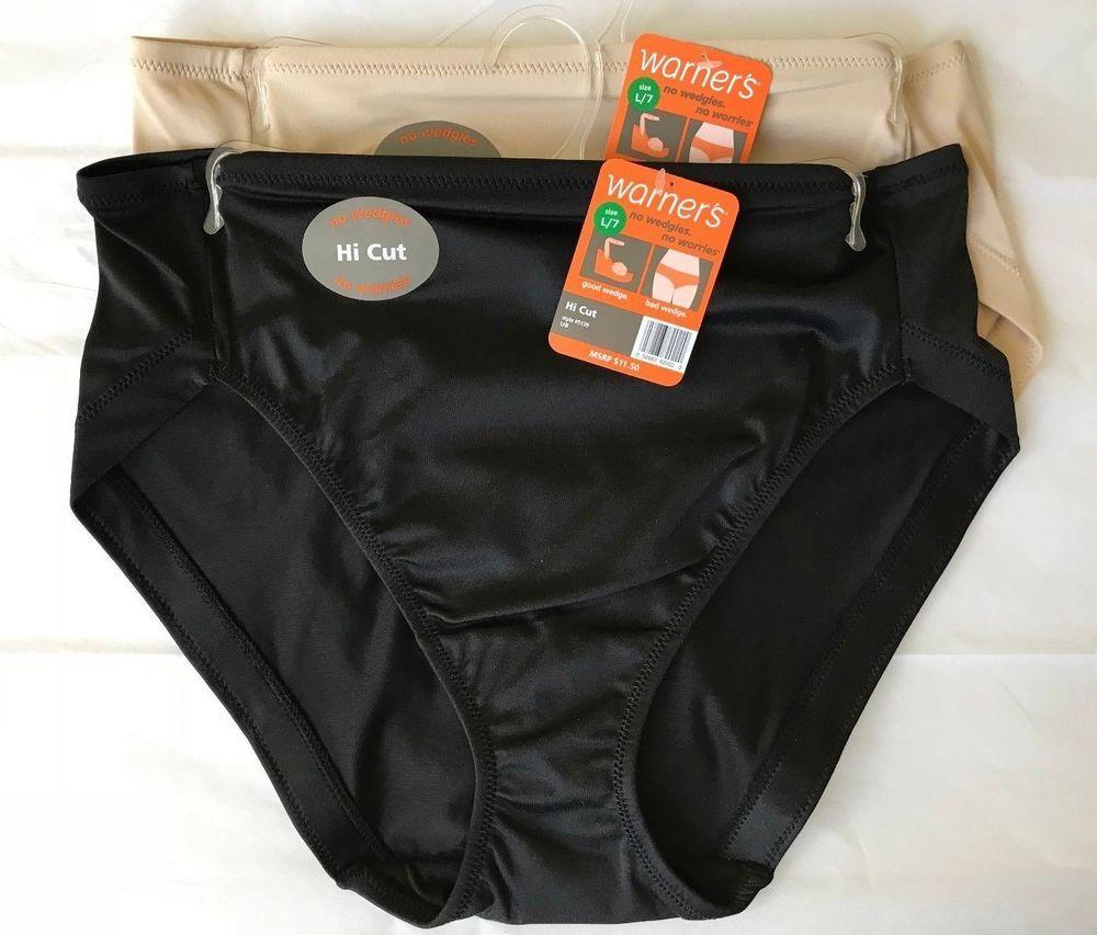 87cb53d2f136 Warner's Hi Cut Brief Panties Size 7 L Beige Black 2 PAIR Style 5139 NWT  #Warners #HiCuts #Everyday