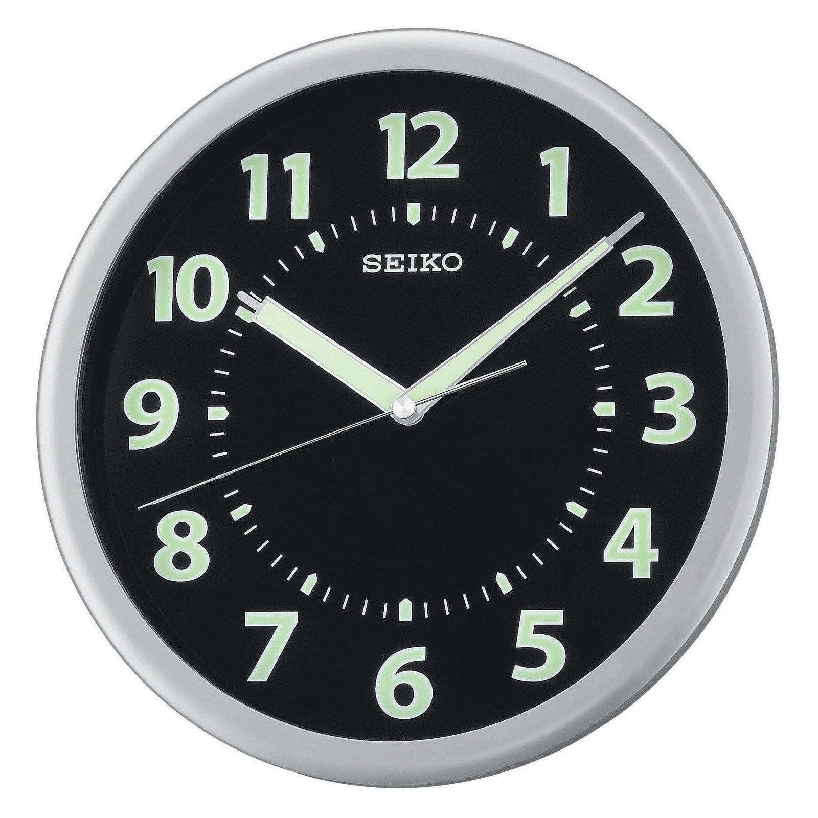 Seiko Glow In The Dark Qxa435slh 10 25 In Wall Clock 36 98 Hayneedle Black Wall Clock Wall Clock Clock