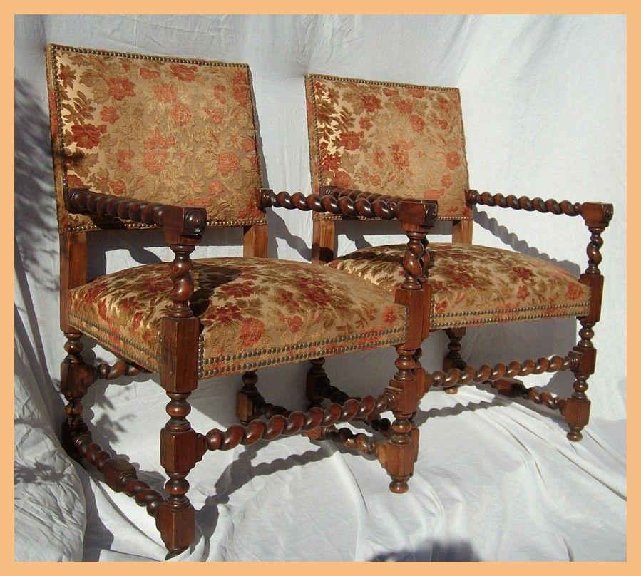 Juego de sillones estilo colonial o barroco espa ol de roble muebles y antiguedades - Sofas estilo colonial ...