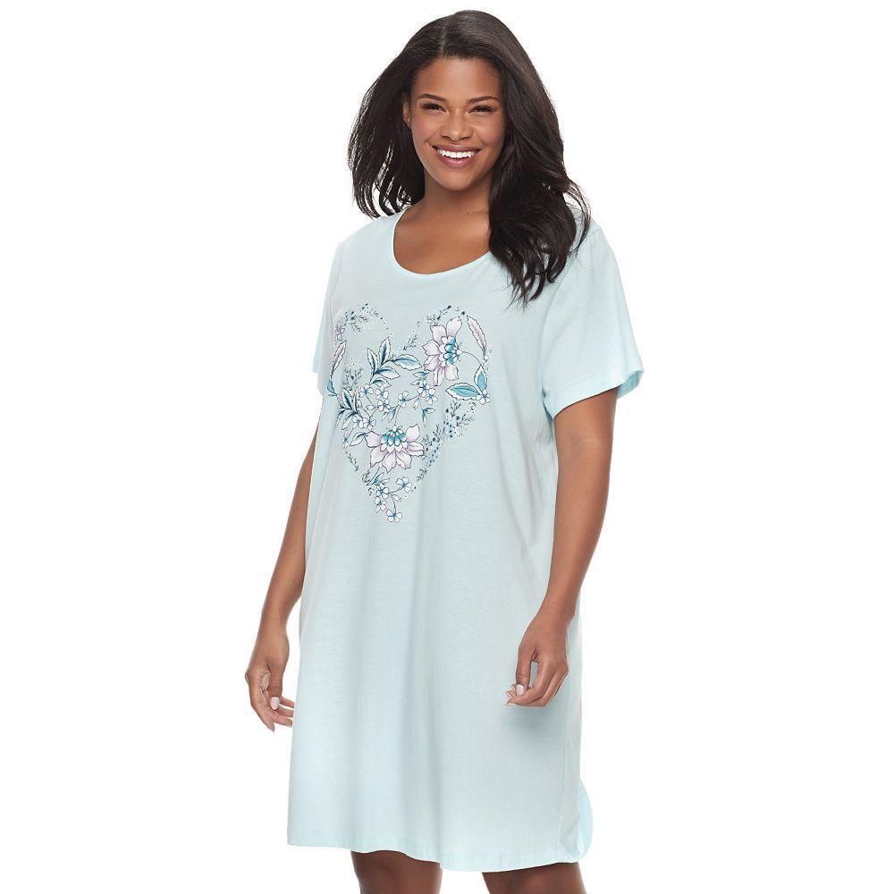 68cf95e6f1 Plus Size Croft   Barrow® Pajamas  Naptime Short Sleeve Sleep Shirt ...