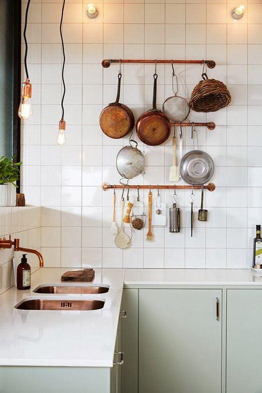 Open Concept Kitchen Hanging Copper Pots White Square Tile Mint Kitchen Scandinavian Kitchen Kitchen Interior