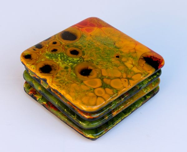 Fused Glass Coasters By Stacey Leland Dennick Very Nice Work