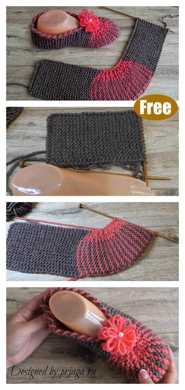 Easy Slippers Free Knitting Pattern #patrontricotgratuit