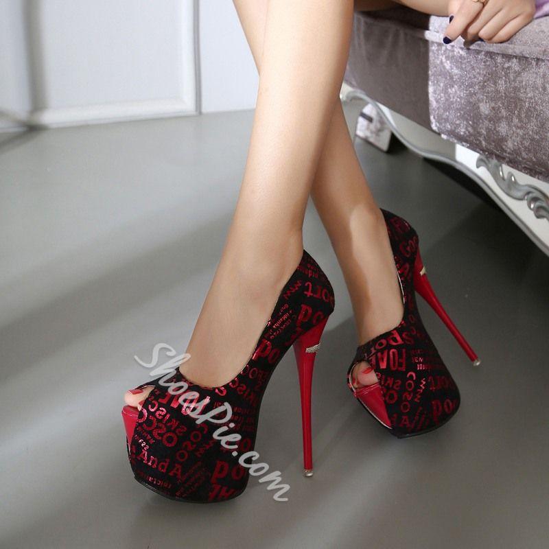 Shoespie Elegant Alphabet Print Peep Toe Platform Heels