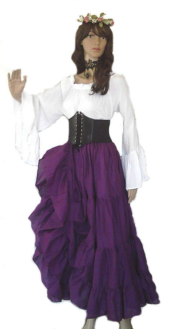 b64e9822907 Renaissance Pirate Gypsy Dress Chemise Corset Outfit Waist Cincher 4 pcs  Wench Steampunk Costume Med