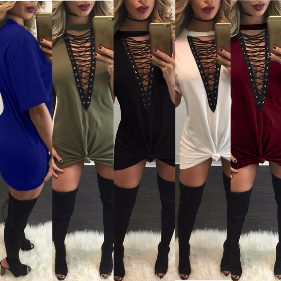 Womens Casual Short Sleeve Party Cocktail Shirt Dress Sexy Clubwear Mini Dress #ShirtDress #Casual
