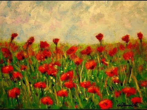 Yagli Boya Cicekli Manzara Cizimi Nasil Yapilir Cicekli Kir Cizimi Youtube Poppy Painting Painting Painting Workshop