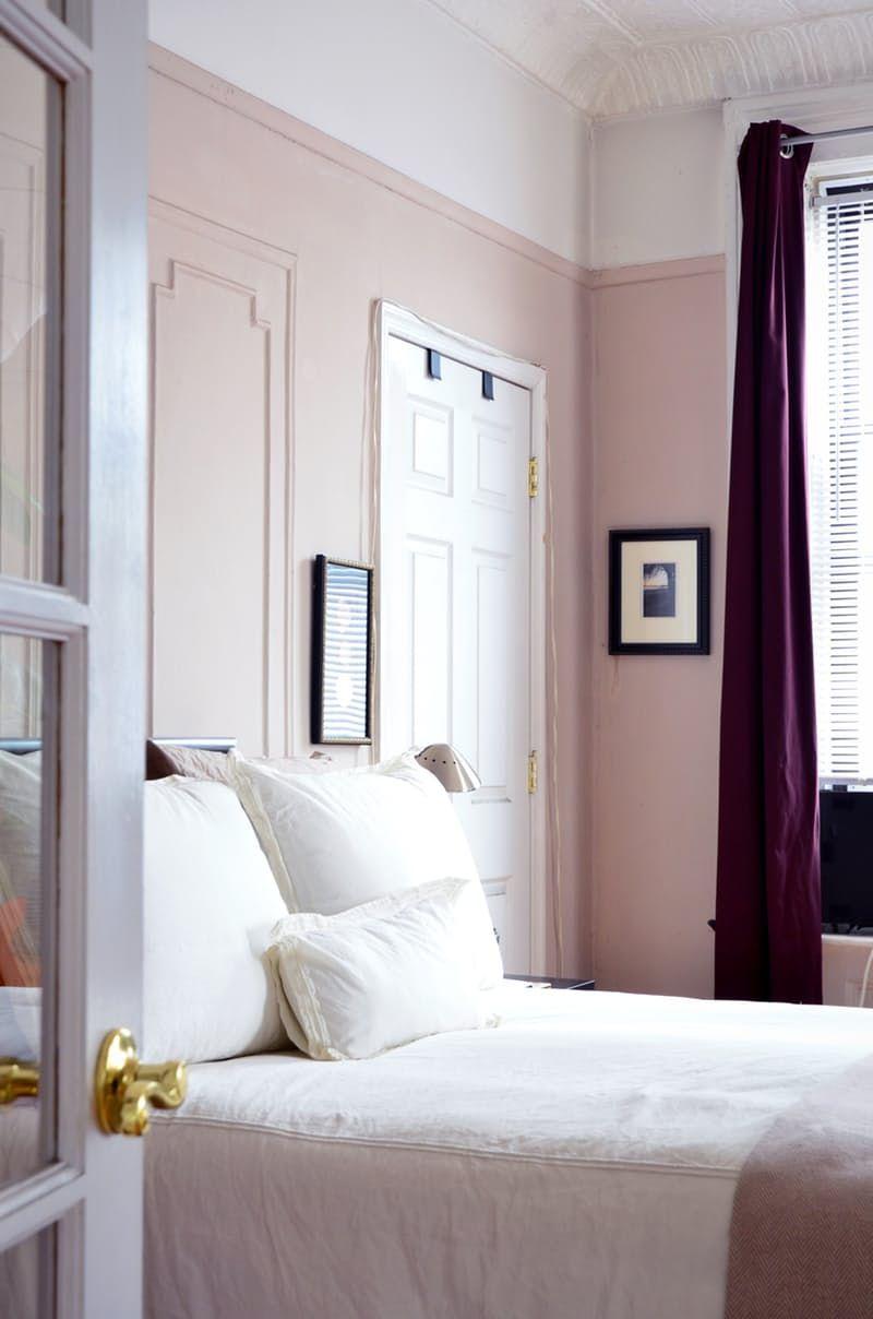 simple dreamy | feminine bedroom | pale pink panelled walls ...