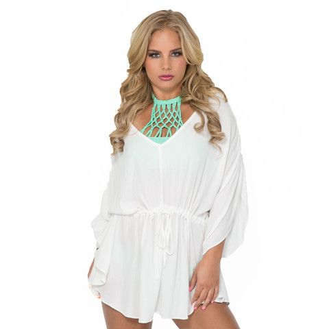 Seaside Cover Up Tunic Dress In White