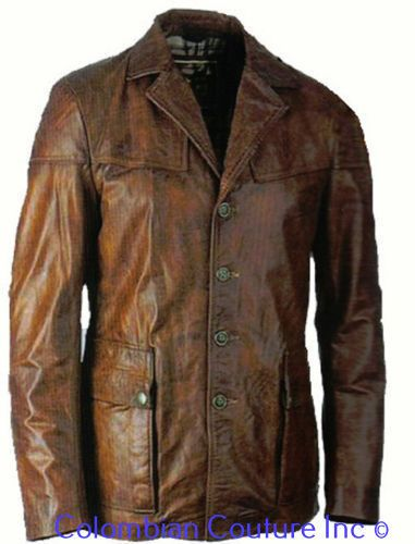 Men Cognac Contrast Leather Car Coat Sz S-5XL or Custom Made ...